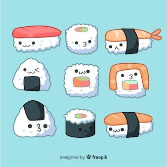 Collection de sushis mignons dessinés à la main