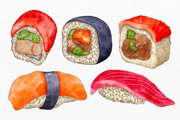 Collection de sushis peints à la main