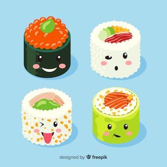 Collection de sushis souriants kawaii dessinés à la main