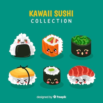 Collection de sushis souriants kawaii dessinés à la main