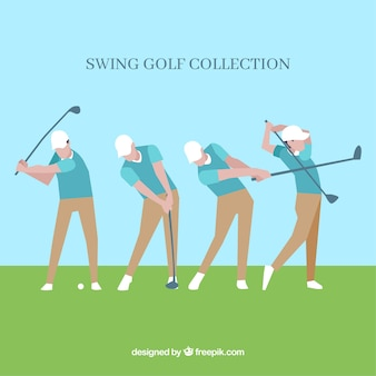 Collection de swing de golf dans les étapes