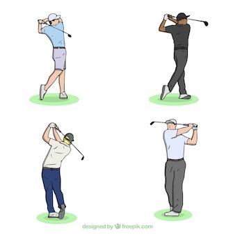 Collection de swing de golf dans un style dessiné à la main