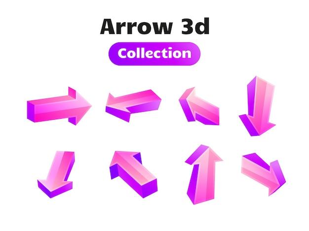 Collection de symboles 3d flèche