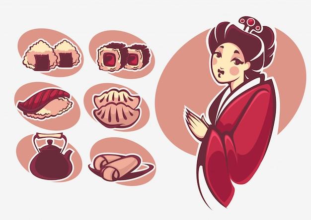 Collection de symboles de la cuisine japonaise