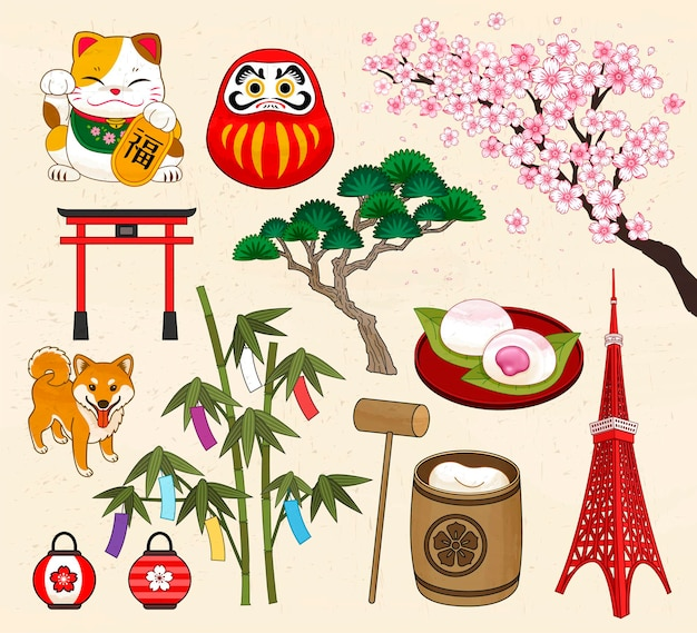 Collection de symboles de la culture traditionnelle japonaise dans le style ukiyo-e