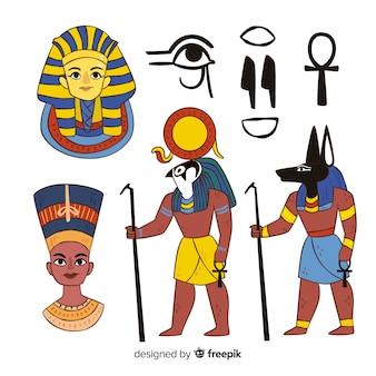 Collection de symboles et de dieux de l'egypte dans le style dessiné à la main