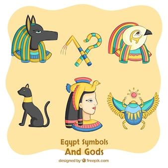 Collection de symboles et de dieux égypte dessinés à la main