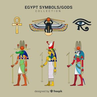 Collection de symboles et de dieux en egypte