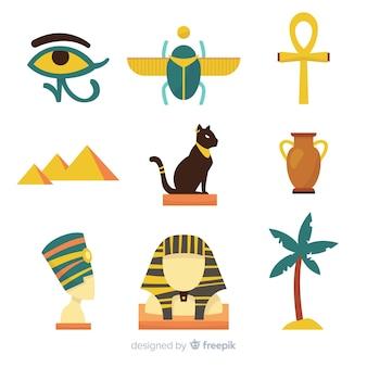 Collection de symboles et de dieux égyptiens plats