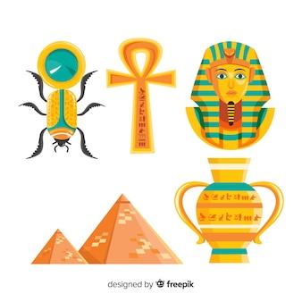 Collection de symboles égyptien antique avec design plat