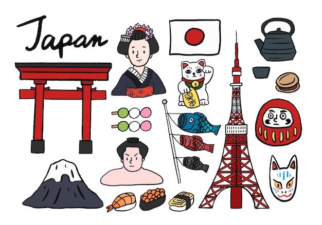 Collection de symboles iconiques du japon