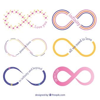 Collection de symboles infini coloré avec un design plat