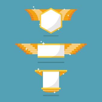 Collection de symboles d'insigne d'or. illustration vectorielle
