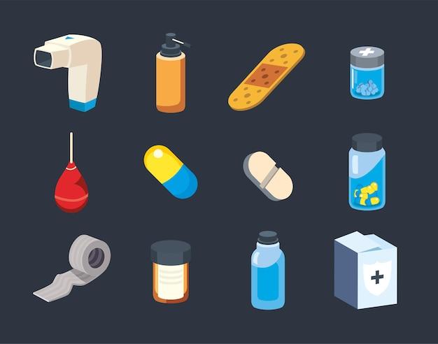 Collection de symboles médicaux et médicaux