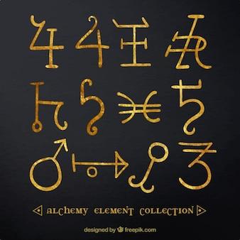 Collection de symboles d'or d'alchimie