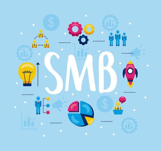 Collection de symboles smb sur fond bleu