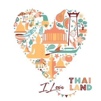 Collection de symboles de la thaïlande dans le cœur. affiche. carte postale en couleur tendance. illustration de voyage. bannière web de voyage dans la composition du cercle.