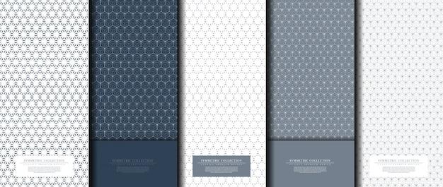 Collection symétrique modèle abstrait hexagonal marine fond bleu