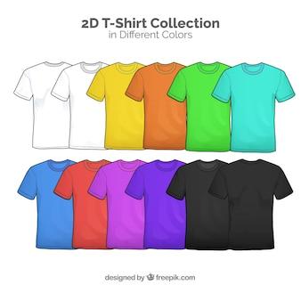Collection de t-shirts 2d en différentes couleurs