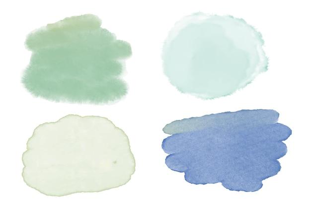 Collection de taches d'aquarelle peintes à la main