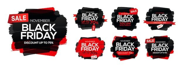 Collection de taches d'encre abstraites avec inscription de vente black friday