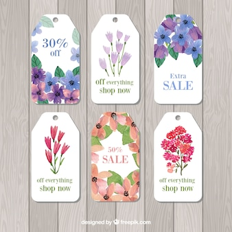 Collection de tags de vente aquarelle