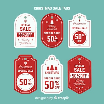 Collection de tags de vente de noël créative