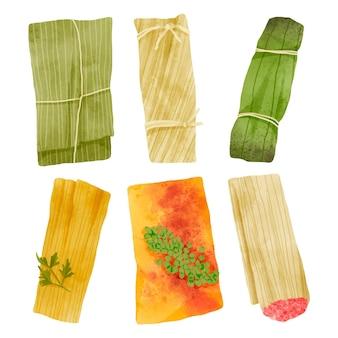Collection de tamales peints à l'aquarelle