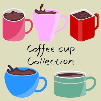 Collection de tasse à café création illustration d'expresso conception graphique de dessin animé