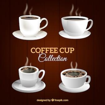 Collection de tasse de café dans un style détaillé