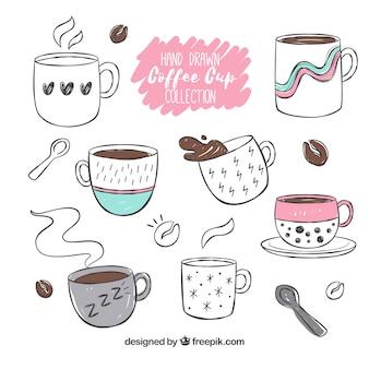 Collection de tasse de café dessinés à la main