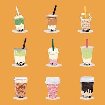 Collection de tasse de thé à bulles et milkshake