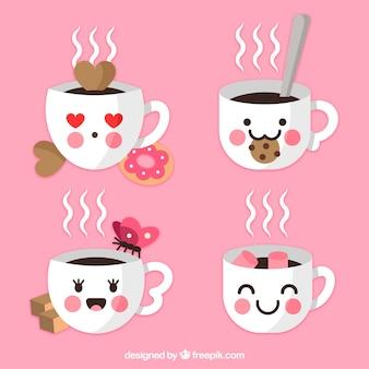 Collection de tasses de café avec des biscuits et des visages