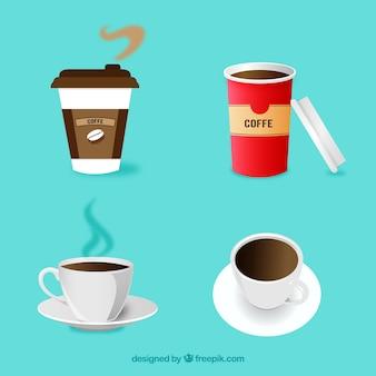 Collection de tasses à café design plat