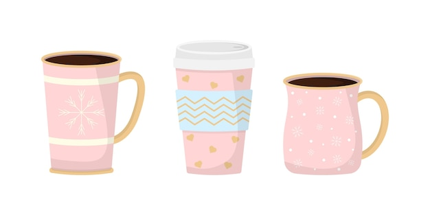 Collection de tasses drôles de noël. tasses de noël avec boisson chaude. café et thé d'hiver. parfait pour les cartes de voeux, les invitations à des fêtes, les affiches, les autocollants, les épingles, le scrapbooking, les icônes.