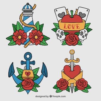 Collection de tatouage avec roses