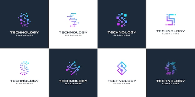 Collection de la technologie de la marque lettre s logo design abstrait logo, point, ordinateur, données, internet. .