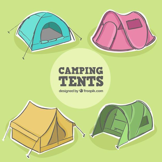 Collection de tentes dessinés à la main