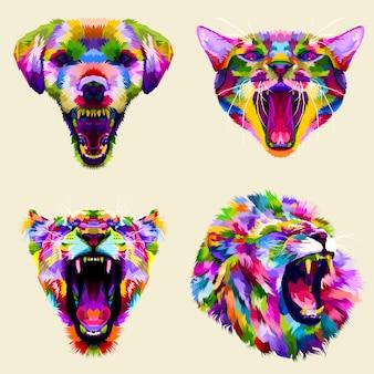 Collection de têtes colorées animales en colère