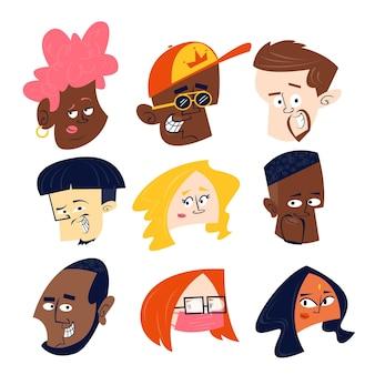 Collection De Têtes De Personnages De Dessins Animés Vecteur gratuit
