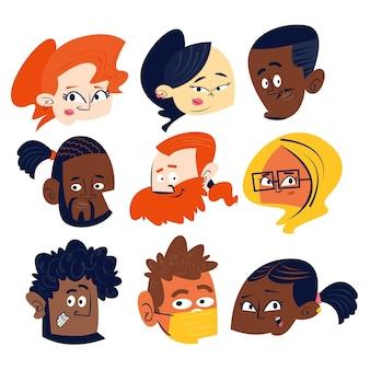 Collection de têtes de personnages de dessins animés