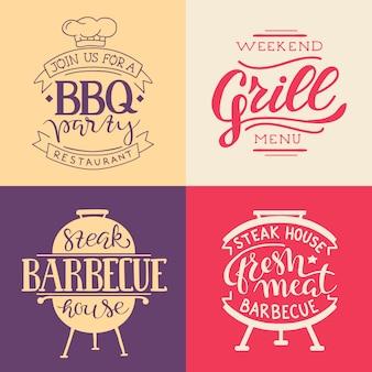 Collection de texte dessiné à la main des aliments grillés, saucisses, poulet, frites, steaks, poisson
