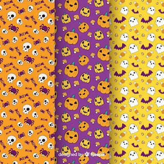 Collection de texture halloween dessinée à la main