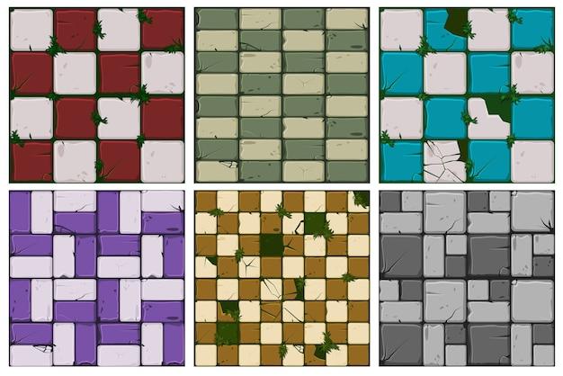 Collection De Texture De Vieux Carreaux De Pierre Vecteur Premium