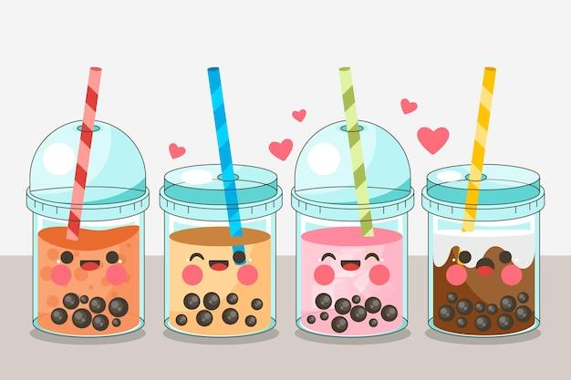 Collection de thé à bulles kawaii
