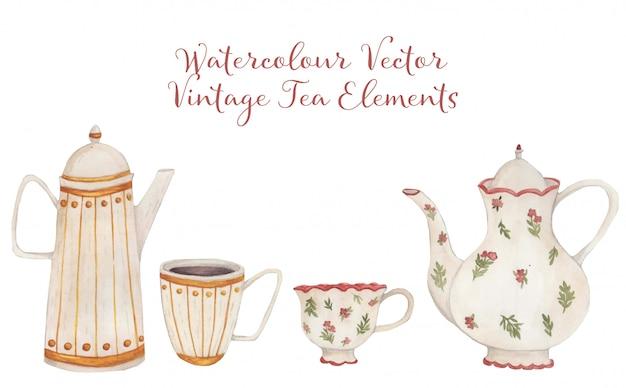 Collection de thé vintage aquarelle