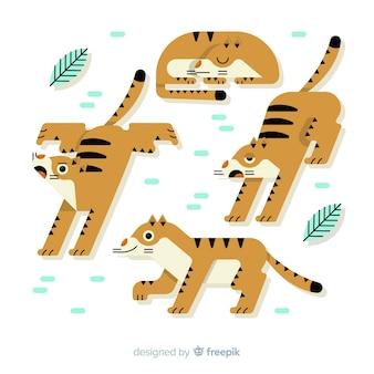 Collection de tigres dessinés à la main mignonne