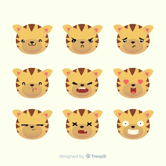 Collection de tigres dessinés à la main