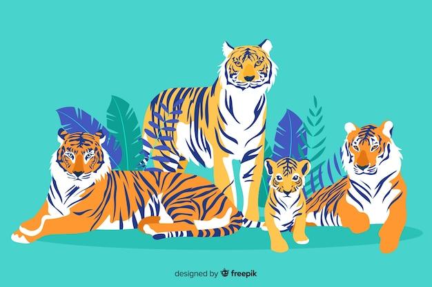 Collection de tigres sauvages dessinés à la main