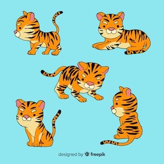 Collection de tigres de style dessiné à la main